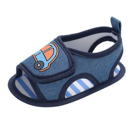 Baby Girl Summer Canvas Shoes Australia - Summer Baby Girl Shoes Newborn Toddler Baby Cartoon Car Canvas Sandals Soft Sole Anti-slip Shoes Baby Sandals M8Y14