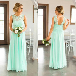 $enCountryForm.capitalKeyWord Australia - Mint Green Country Bridesmaid Dresses Cheap Chiffon Floor Length Lace Top Backless Ruched Maid of Honor Gowns wedding guest dress