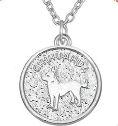 Dog Plates Australia - Chihuahua Necklace Dog Pet Round Pendant Silver  Silver Plated Women Necklaces Jewelry