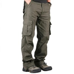 casual military clothing NZ - Men's Cargo Pants Casual Multi Pockets Military Tactical Pants Men Outerwear Army Straight Slacks Long Trousers Men Clothes CX200615