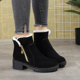 Large cowboy boots online shopping - 2019 winter new snow boots women s side with the middle side zipper plus velvet warm cotton boots female large size