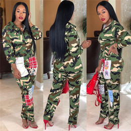 Wholesale sexy open pants resale online - women new sexy zip open turn down neck long sleeve camouflage safari style jumpsuits fashion rompers outfits