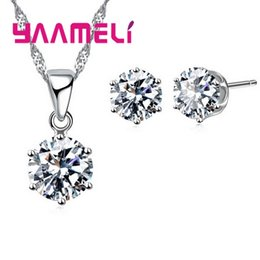 b2f73ad1a YAAMELI Factory Outlet 925 Sterling Silver Cubic Zirconia Round Drop  Necklace Stud Earrings for Women Wedding Jewelry Sets