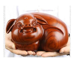carving furniture Australia - odiac pig creative office furniture rosewood crafts Yellow flower pear wood carving decoration statue factory direct