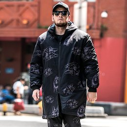 Extra Large size L-6XL 7XL Long Hooded Park Coat Men s jacket Winter Loose  Warm Printed Cotton jacket for 150kg Men s Clothing 08bc92a7f62f