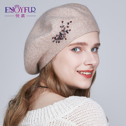 beret knitted NZ - ENJOYFUR Winter Beret hats for women wool knitted warm solid color Rhinestone berets female fashion beanie caps S18120302