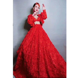 $enCountryForm.capitalKeyWord Australia - DJ Costumes Red Rose Fluffy Dress Birthday Celebrate Women Dress Prom Evening Stage Singer Dancer Long Train DQS2534