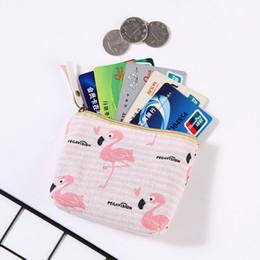 Cute Canvas Wallet Australia - Popular Women Flamingo Cactus Pattern Coin Purse Zip Bag Cute Cartoon Coin Bag Key Case Mini Wallet Canvas Portable Small Bags