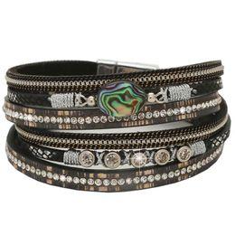 Discount teen bracelets - Fashion Womens Boho Wrap Leather Multilayer Wide Stone Bracelets Bohemia Jewelry for Women Teen Girl Boy