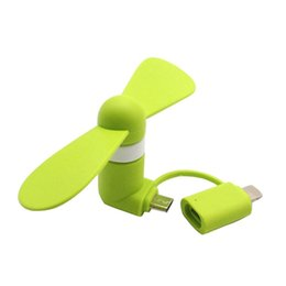 micro fans UK - Portable Fan 2 in 1 Micro USB Mini Fan Cooler for iPhone Samsung Huawei HTC Cell Phone Android Smart Phone