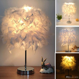 metal bedside tables Australia - Feather Shade Metal Table Lamp Bedside Desk Vintage Atmosphere Night Light Christmas Decor Soft Vintage Bedroom Study Room