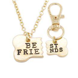Bff Necklaces Australia - BEST FRIENDS Necklaces Sets 2pcs set Dog Bone Best Friends Charm Necklace & Keychain BFF Bones Friendship Jewelry