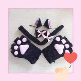 Wholesale ear tail costume for sale – halloween New Arrival Set Cat Ears Plush Paw Claw Gloves Tail Ribbon Anime Cosplay Costumes Winter Warm Women Lady