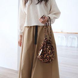 Ladies Handbag Fabric Australia - Ins Leopard Drawstring Bucket Bags For Women Cotton Fabric Shoulder Messenger Bags Lady Girls Handbags Totes Large Capacity Chic