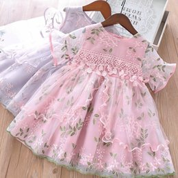 Lolita Flared Dress Australia - Children pageant dress girls lace gauze floral leaves embroidery dress kids flare sleeve lace crochet Bows belt princess dress F5047