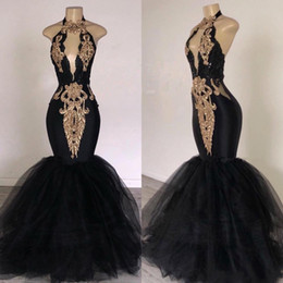 White Gold Dresses South Africa Australia - 2019 Black Prom Dresses with Gold Appliqued Mermaid South Africa Formal Evening Dress Halter Neck Sweep Train Occasion Party Dresses