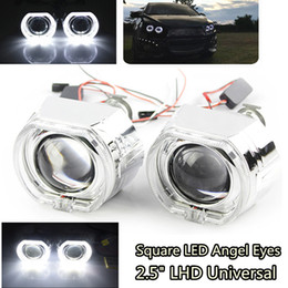 h4 led headlight kit UK - 1 Pair Square LED Angel Eyes Halo DRL Bi Xenon Lens Car Projector Headlight HID Auto Tuning Kit H4 H7 for H1 Bulb