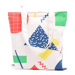 $enCountryForm.capitalKeyWord NZ - good quality New Fresh Style Women Canvas Bags Geometric Cotton Fabric Shoulder Printing Beach Bags Shopping Bag Totes Handbag