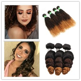 22 inch hair for cheap NZ - Cheap Extensions Virgin Hair bundles 3pcs Set For Full Head Romance Brazilian Curly Wave Ombre Color Short Remy Human Hair J143