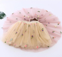 embroidered tutu Canada - Baby Girls Tutu Dresses Kids Gauze Skirt 2 Colors New Summer Party Elegant Cute Fruit Embroidery Gauze Skirt