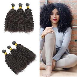 Natural Human Afro Hair Bulk NZ - Malaysian human hair bulk for braiding 8A afro kinky curly natural color bulk hair no weft