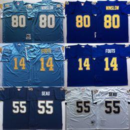 96168464 Vintage San Diego Junior Seau Chargers 14 Dan Fouts 55 Junior Seau 19 Lance  Alworth 80 Kellen Winslow Football Jerseys