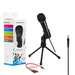 karaoke cables NZ - SF-910 Microphone For Phone 3.5mm Cable Wired With Tripod Stand PC Mic For Computer Laptop Karaoke Studio Desktop Recording