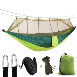 games chairs UK - Ultralight Hammock With Mosquito Net Hunting Swinging Hanging Chair Double Person Sleeping Bed Outdoor Camping Portable Hammock