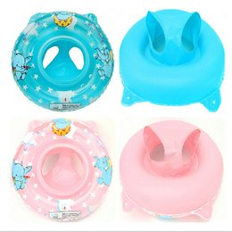 Wholesale baby sits resale online - Baby Children Swimming Laps Inflation Eco Friendly PVC Elephant Swim Ring Pink Blue Deepen Lovely Sitting Circle gzD1