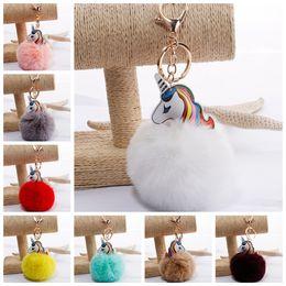 Color Leather Bags Australia - Pu Leather Unicorn Keychain Women Faux Rabbit Fur Ball Pompon Key Chain Women Men Car Bag Pom Pom Key Ring Holder Multi color