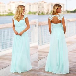 Wholesale Newest Mint Green Boho Chiffon Bridesmaid Dresses Cap Sleeves Lace Applique Hollow Back Beach Wedding Guest Maid of Honor Gown Custom Made