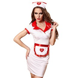 hot sexy babydoll dress UK - Sex Nurse Costumes Dress Women Teddy Lingerie Sexy Hot Erotic Game Cosplay Nurse Uniform V-neck Babydoll Dress Halloween Cosplay