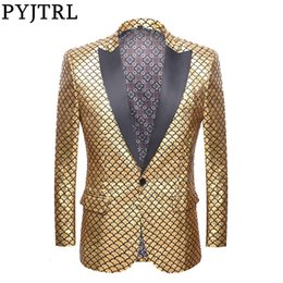 gold fashion men suit Australia - PYJTRL Men Blazer Designs Fashion Gold Pattern Slim Fit Suit Jacket DJ Night Club Stage Singers Blazers