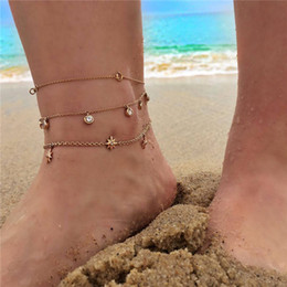 white gold heart ocean 2019 - Bohemian Starfish Stone Anklets Set For Women Vintage Handmade Wave Anklet Bracelet on Leg Beach Ocean Jewelry 2018 20 s