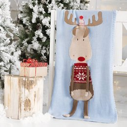BaBy sleep towel online shopping - 60 cm Baby sleeping Blankets Christmas Elk Blanket Kids Wool Thread Knitted Xmas Blanket Beach Mat Crochet Swaddling Towel M323