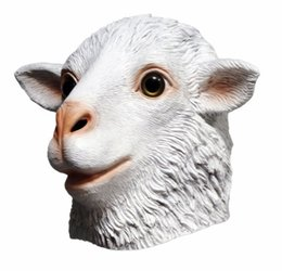 mask dress up NZ - Funny Realistic Adult White Animal Halloween Fancy Dress Rubber Latex Lamb Ram Sheep Mask Goat Head Mask Animal Mask Fancy dress up