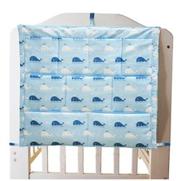free beds NZ - Free Shipping New Baby Cot Bed Hanging Storage Bag Crib Organizer Storage Bag 60*50cm Toy Diaper Pocket for Crib Bedding Set