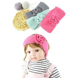 Hair Braiding Accessories Australia - Children's Knitted Headband Camellia Hair Band Braided Headdress Woolen Headgear Baby Warm Hair Accessories Support FBA Drop Shipping M20F