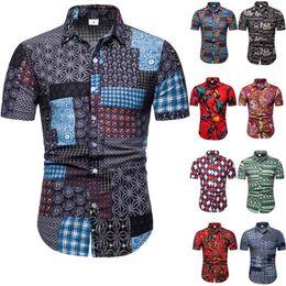 5c5b622c627b Mens Floral Print Shirt Male Loose Summer Short Sleeve Tops Europe Men  Festival Clothing Casual Button Shirts Plus Size 5XL Turn-down Collar