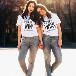 best wholesale t shirts NZ - 1pcs Twin Women Bff T Shirt Best Friend Sister Tumblr Tops Yes We're Twins No We Are Not Identical Girls Fashion Bff Shirt