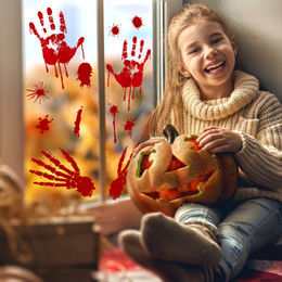 $enCountryForm.capitalKeyWord Australia - Halloween Wall Sticker Home Decoration Decals Removable Horror Blood Handprint And Footprint Wall Glass Winder Stickers 30*45CM