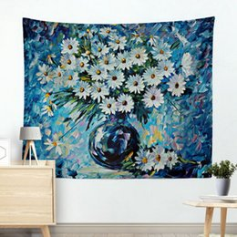 Curtain Painting Australia - Explosive oil painting Blues yellow daisy hanging cloth wall decoration tapestry background cloth hanging curtain scenery Mural