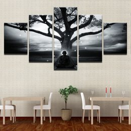 Art Canvas Prints Australia - Canvas HD Prints Painting Wall Art Framework 5 Pieces Tree And Buddha Poster Abstract Meditation Monk Pictures Living Room Decor
