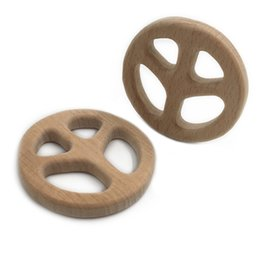 wholesale wood pendants Australia - Wooden Peace Sign Beech Wood Pendants Handmade Accessories Teething Wood Teether ToysEco-Friendly Safe Baby Teether Toys