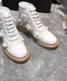 $enCountryForm.capitalKeyWord Australia - 2019 Designer Luxury Fashion womens FLOWER MESH fabric WITH REAL LEATHER Lace Up MOTORCYCLE BIKER short boots