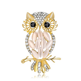 $enCountryForm.capitalKeyWord UK - Wholesale Women's Dream Owl Crystal Owl Eye Stone Brooch Pin Halloween Costume Jewelry Accessories Women Animal Brooch Free shipping