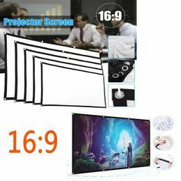 """Venta al por mayor de Portátil de 60"""" - 150"""" Proyector LED Pantalla de proyección 16: 9 HD 3D de cine en casa Cine Teatro al aire libre plegable blanco para montaje en pared"""