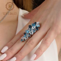 Genuine Gemstone Sterling Silver Australia - Gem's Ballet Brand Hot Fashion Natural London Blue Topaz Gemstone Rings Genuine 925 Sterling Silver Ring For Women Fine Jewelry J190523