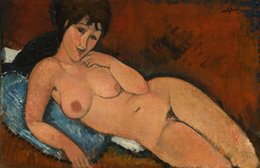 nude oils Canada - Amedeo Modigliani Nude on a Blue Cushion Home Decor Handpainted &HD Print Oil Painting On Canvas Wall Art Canvas Pictures 191109