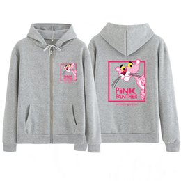 panthers hoodie Australia - Woman Pink Panther Hoodie zipper Sweatshirt With Hood Hat Cartoon Cute Tops Kawaii Harajuku Black Kpop